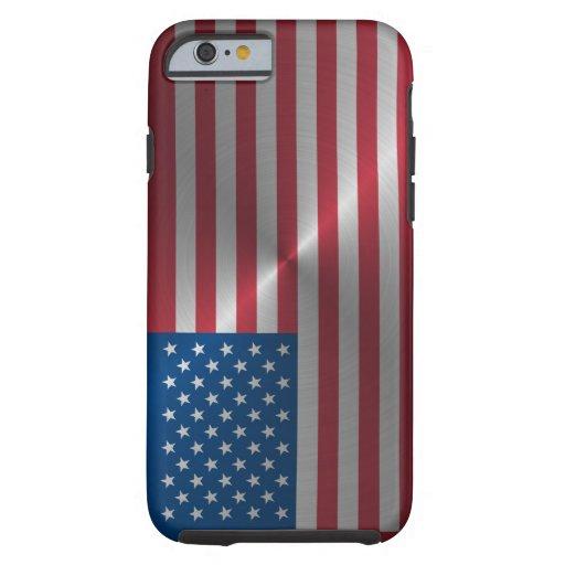 Glänzende Stahl USA-Flagge Tough iPhone 6 Hülle