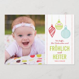 Glänzenden Verzierungen Foto Weihnachtskarte