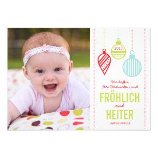 Glänzenden Verzierungen Foto Weihnachtskarte Announcements