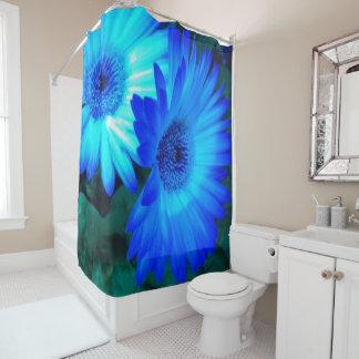 Glänzender blaue Gänseblümchen-Duschvorhang Duschvorhang
