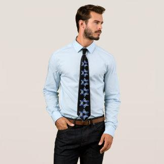 Glänzender blauer Davidsstern Jüdische Krawatte