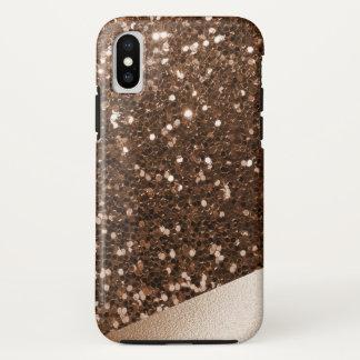 Glänzender bronzierter Imitat-Glitzer u. iPhone X Hülle
