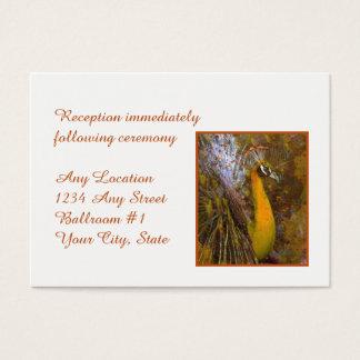 Glänzender Goldpfau-Hochzeits-Empfang Visitenkarte