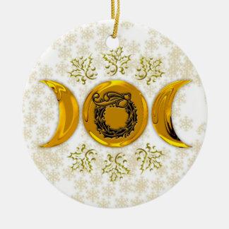 Glänzender Imitat-Golddreiergruppen-Mond u. Rundes Keramik Ornament
