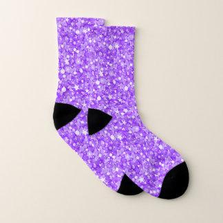 Glänzender lila und weißer Glitzer Socken