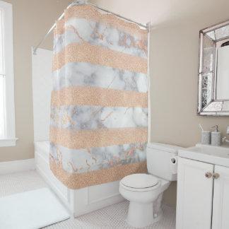 Glänzender LuxusGlitzer Stripes Ombre Marmor Duschvorhang