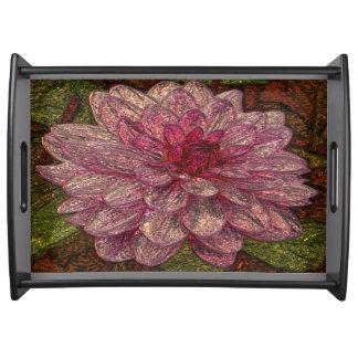 Glänzender metallizer Rosa-Blumen-Glasbehälter Tablett