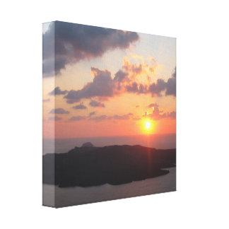 Glänzender Santorini Sonnenuntergang Leinwanddruck