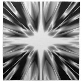 Glänzender Schwarzweiss-Stern Stoffserviette