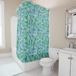 Glänzendes blaues duschvorhang