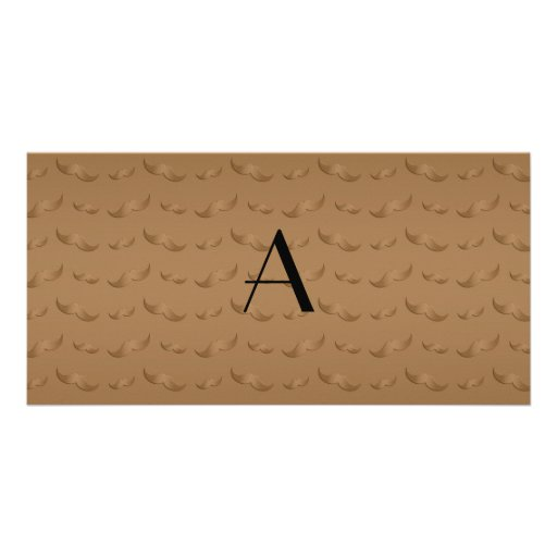 Glänzendes braunes Schnurrbartmuster des Fotokartenvorlage