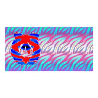 Glänzendes Diamant RednBlue n Wellen-Muster Photokarte