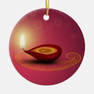 Glänzendes glückliches Diwali Diya - Verzierung Keramik Ornament