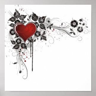 Glänzendes Herz, Blätter u. Blumen - Vorlage Poster