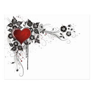 Glänzendes Herz, Blätter u. Blumen - Vorlage Postkarte