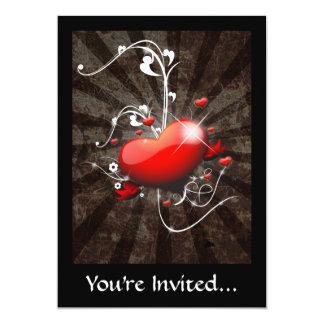 Glänzendes Herz mit Wirblem Grunge-Hintergrund 12,7 X 17,8 Cm Einladungskarte