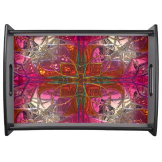 Glänzendes metallizer roter und rosa Glasbehälter Tablett