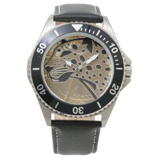 Glänzendes metallizer Silber und schwarzer Armbanduhr