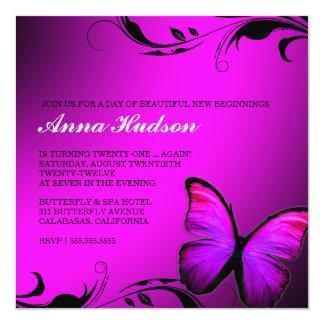 Glänzendes Rosa des Schmetterlings-311 lila Quadratische 13,3 Cm Einladungskarte