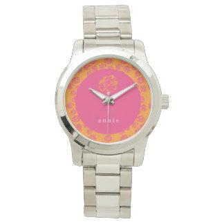 Glänzendes rosa u. orange Blumen Uhr