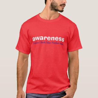 glänzendes Rot des Bewusstseins. Weiß und blaue T-Shirt