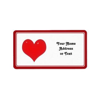 Glänzendes rotes Herz der Liebe Adressetiketten