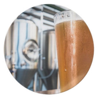 Glas Bier am Microbrewery Teller