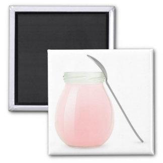 Glas Fruchtjoghurt Quadratischer Magnet