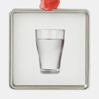 Glas kaltes Wasser Quadratisches Silberfarbenes Ornament