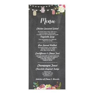 Glas-Menü-Hochzeits-Empfangs-rustikale Kreide mit Karte