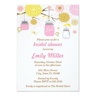 Glas-rosa BlumenBrautparty-Einladung Karte