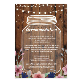 Glas-rustikale Anpassungs-Hochzeits-mit Karte