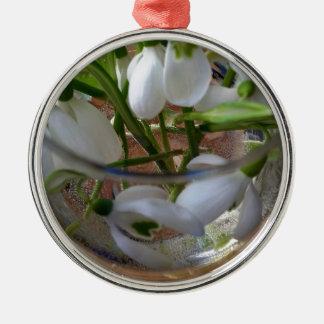 Glas snowdrops rundes silberfarbenes ornament
