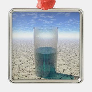 Glas Wasser Quadratisches Silberfarbenes Ornament