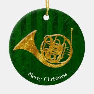 Glasblick-Goldfranzösisches Horn personifizieren Rundes Keramik Ornament