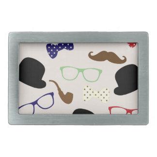 Gläser, Hüte und Schnurrbart Rechteckige Gürtelschnallen