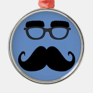 Gläser mit dem Schnurrbart Rundes Silberfarbenes Ornament