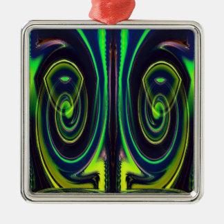 Glases Quadratisches Silberfarbenes Ornament