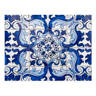 Glasig-glänzende Portugiese Azulejo Fliesen Postkarte
