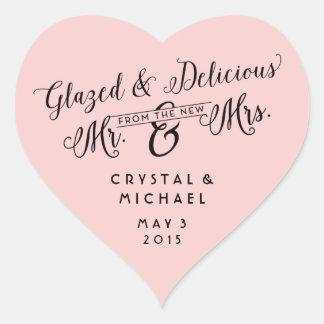 Glasig-glänzende und köstliche Hochzeit danken Herz-Aufkleber