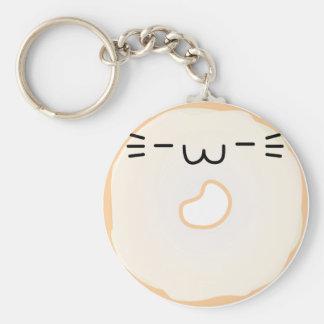 Glasig-glänzender Katzen-Krapfen Keychain Schlüsselanhänger