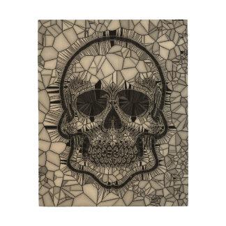 Glasmosaik-Schädel, Schwarz-weiß Holzdruck