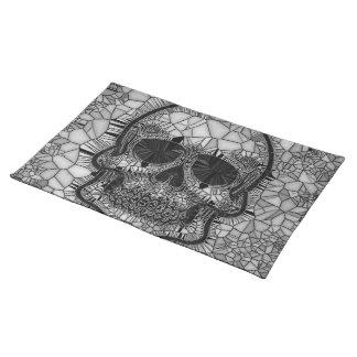 Glasmosaik-Schädel, Schwarz-weiß Stofftischset