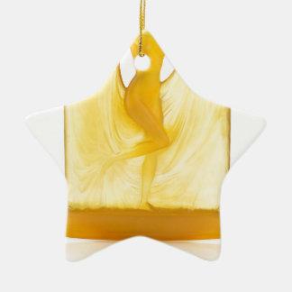 Glasstatue des gelben Kunst-Dekos eines Tänzers Keramik Ornament