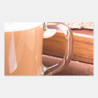 GlasTasse mit heißer Schokolade und Keksen Rechteckiger Aufkleber