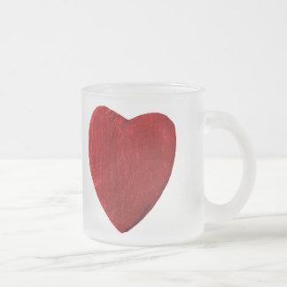 Glastasse mit rotem Herz aus Schiefer Mattglastasse
