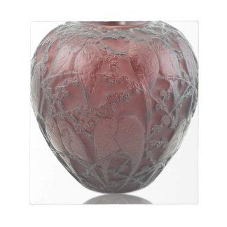Glasvogelvase des roten Kunst-Dekos Notizblock