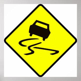 Glatt wenn nasses Straßen-Verkehrszeichen Poster