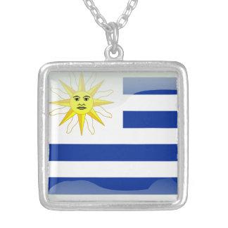 Glatte Flagge Uruguays Versilberte Kette