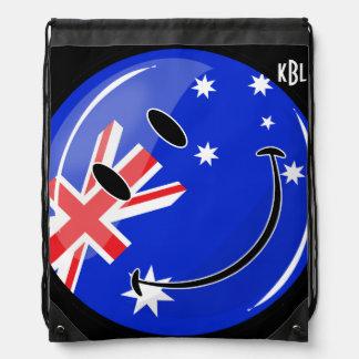 Glatte lächelnde australische Flagge Turnbeutel